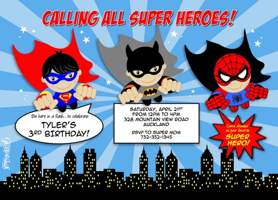 image about Printable Heroes Pdf known as Traveling Tremendous Heroes invitation pdf or jpg printable