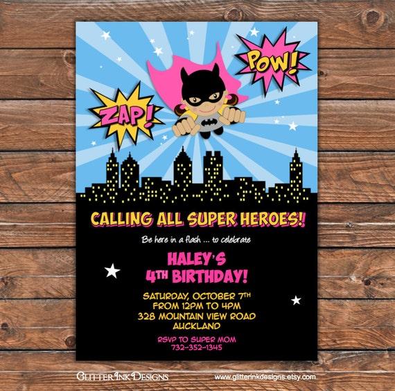 Flying Super Heroes PINK Batgirl party pdf or jpg printable