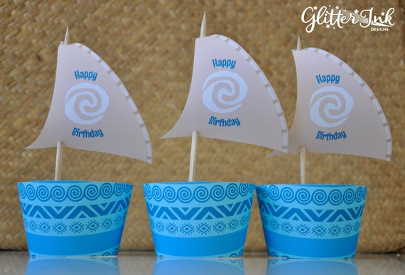picture about Moana Sail Printable titled Moana cupcake topper sails and wrappers for birthday social gathering