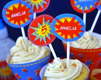 Super Heroes party PERSONALIZED pdf printable cupcake toppers and wrappers for superhero birthday party