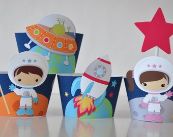 5 Space / astronaut party cupcake wrappers and star toppers w/ girl & boy astronauts, rocket, alien space ship PDF printable