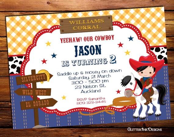 Lejano oeste vaquero cumpleaños partido invitación impresión