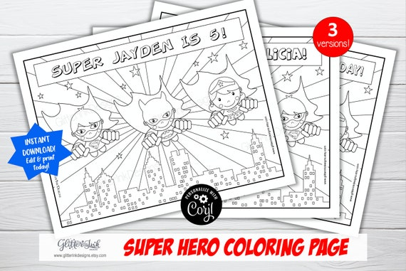 Super Hero Party Personalized Coloring Pages / Flying Super Heroes Colouring  Activity For Kids / Superheroes Birthday Printable Corjl Edit By Glitter  Ink Designs Catch My Party
