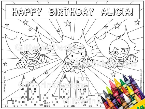 Super Heroes party coloring page with flying Superman, Batman & Wondergirl  - TEXT EDITABLE pdf printable superhero colouring activity