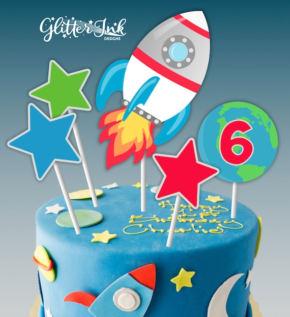 Groovy Astronaut Space Party Pdf Printable Outer Space Cake Topper Etsy Funny Birthday Cards Online Unhofree Goldxyz