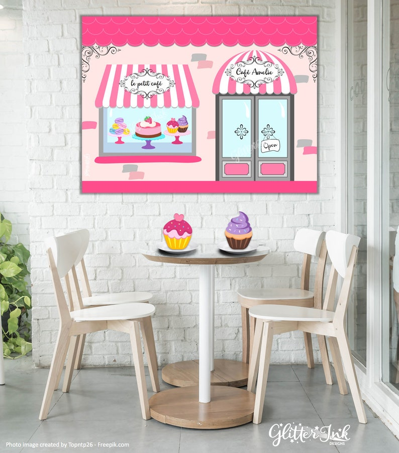 Paris party printable PERSONALIZED poster dessert table backdrop photo prop wall art French caf\u00e9 patisserie bakery cupcakes macaroons cake