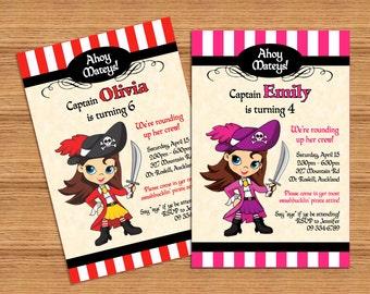 Pirate Girl PERSONALIZED pdf printable pirate party invitation