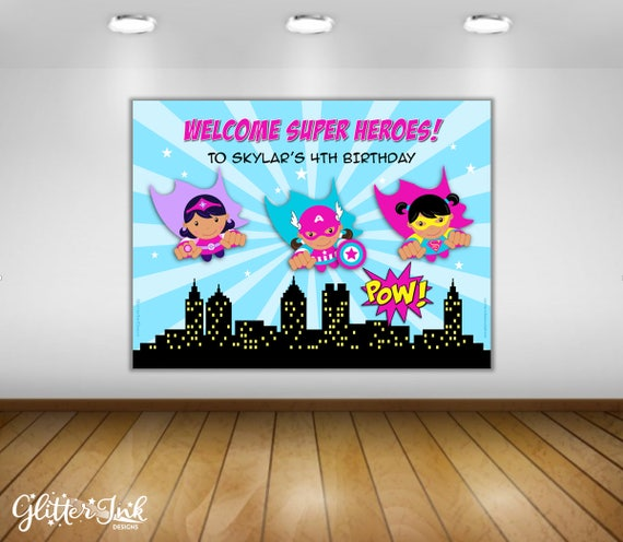 Super Heroes party PDF printable PERSONALIZED poster dessert table