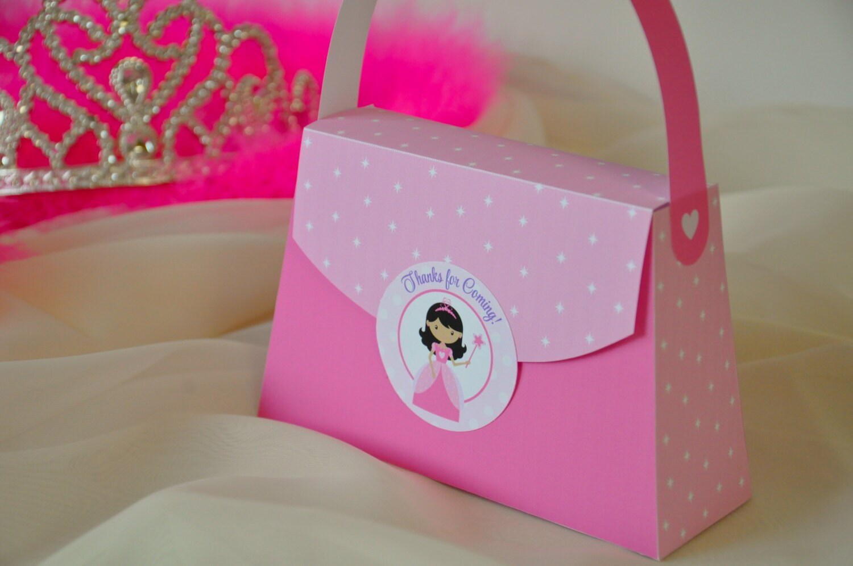 Princess Party Purse Favor box pdf printable pink party bag | Etsy