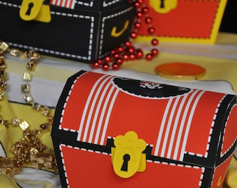 Pirate Party pdf printable treasure chest favor box in red, black and yellow INSTANT DOWNLOAD