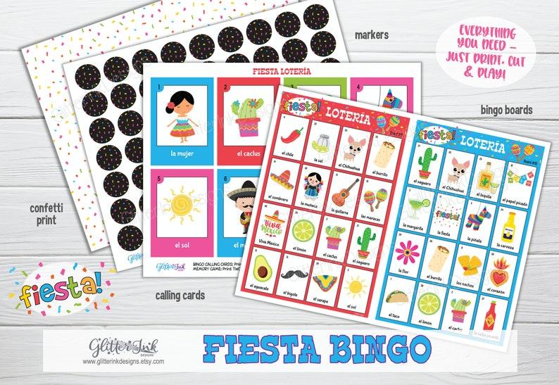 Fiesta mexicana Cinco de Mayo bingo  Mexican fiesta party game  Loteria mexicana Mexican party activity  learn Spanish fun memory game