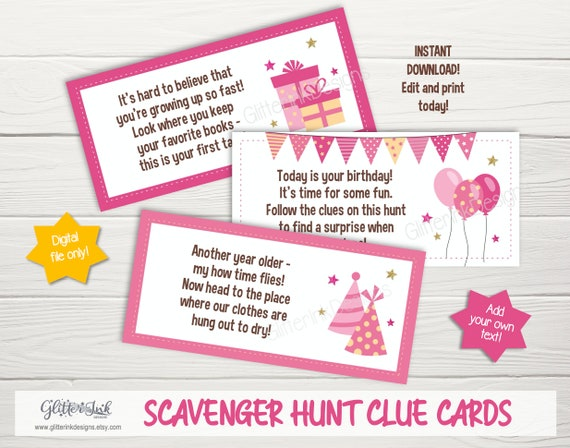 Birthday Scavenger Hunt Clue Cards Treasure Hunt Clues Treasure Hunt Kids Birthday Activity Indoor Outdoor By Glitter Ink Designs Catch My Party