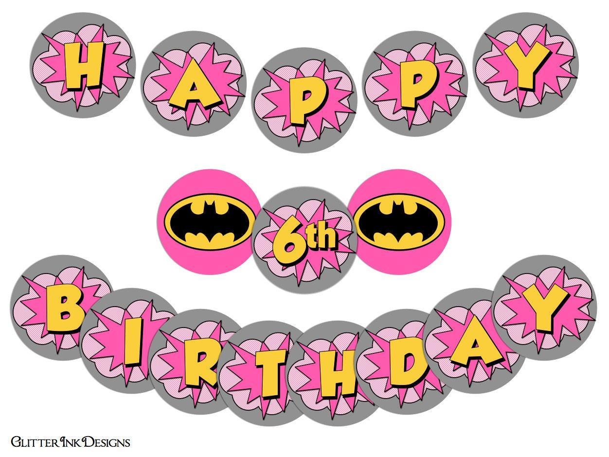 Flying Super Hero party Pink BATGIRL super girl pdf printable | Etsy