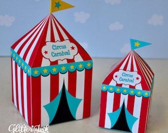Circus party cupcake favor box / Carnival birthday favor box / Carnival tent cupcake favor box / carnival baby shower / circus party favor