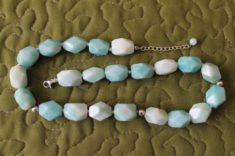 ON SALE Chalcedony Necklace of Hand Knotted Asymmetrical Beads with Sterling Silver Beads and Findings birthday graduation all occasion gif
