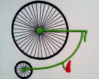 Penny Farthing Old Bicycle Outline. Machine Embroidery Design Digitized File
