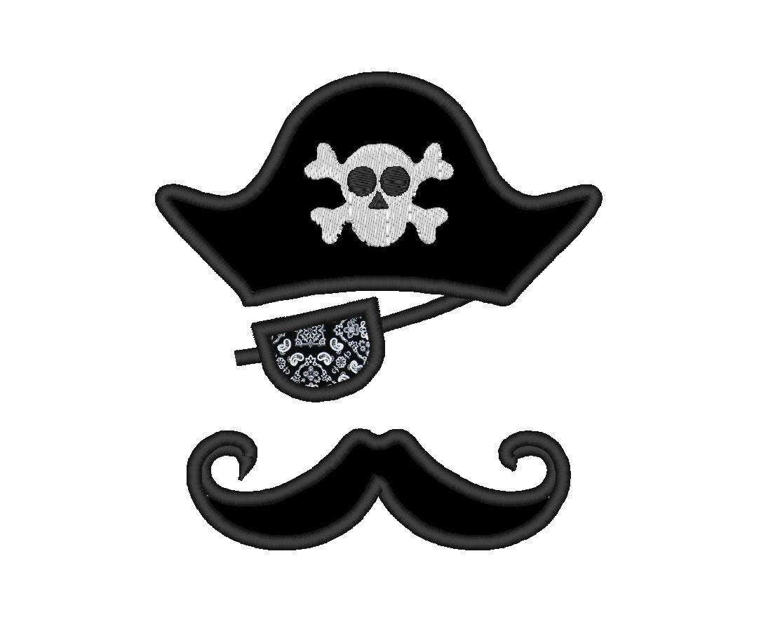 Sombrero pirata parche bigote Applique. DESCARGA INSTANTÁNEA. | Etsy
