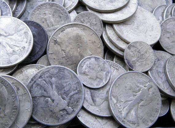 90/% Silver US Coin Lot 1 OZ  Pre 1965 Coins Mixed Lot Half Dollar Quarter Dimes