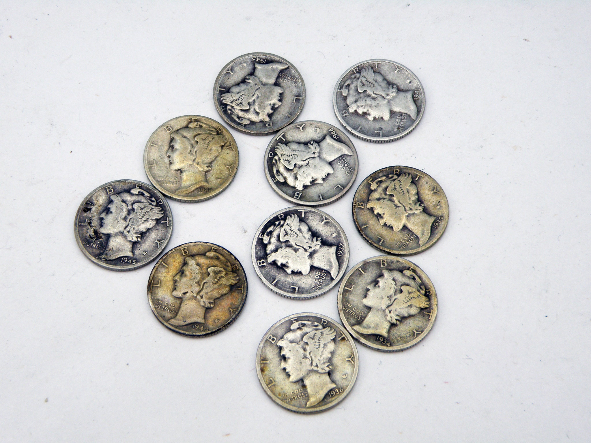 90/% Silver Different Dates and Mint Marks Barber Dime Lot of 5