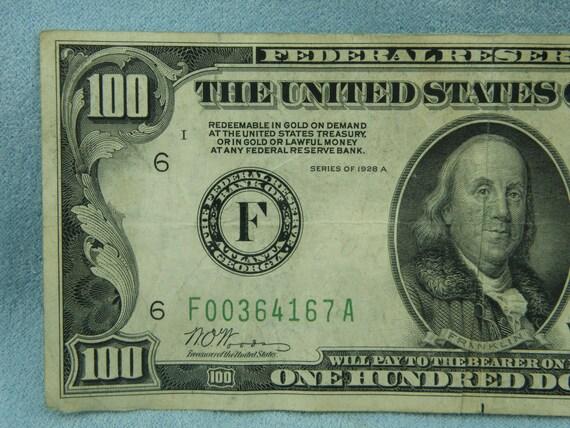 1928 A 100 Dollar Federal Reserve Note Bank Of Atlanta Green Etsy