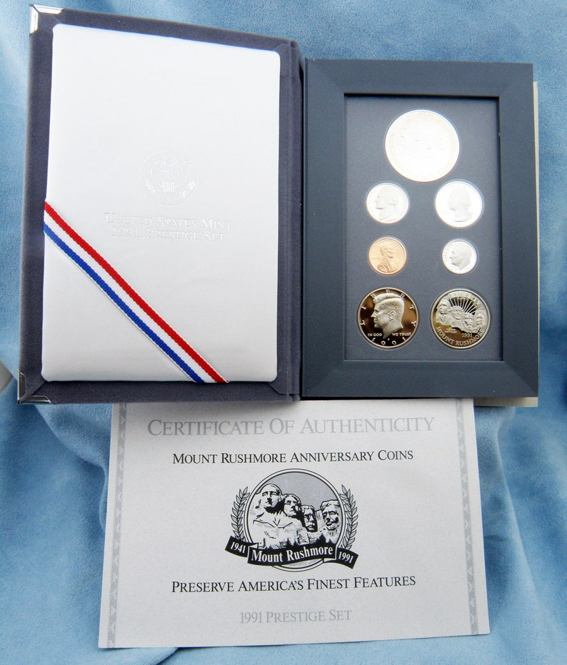 1991 US Mint Prestige Proof Set Box and Coa - Mount Rushmore Silver One  Dollar and Clad 50 cent -Free Shipping, SKU: USMS-1990