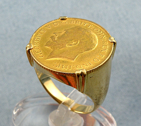 9ct Yellow Gold St George Medallion 110 Sovereign Coin Ring Hallmarked