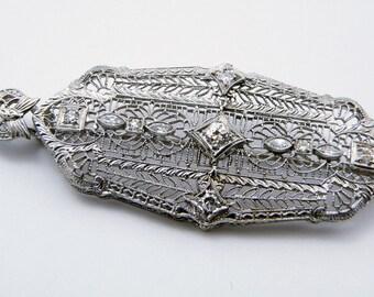 Estate Edwardian Reproduction Convertible Diamond 14K White Gold Brooch/Pin/Pendant, SKU PIN-1008