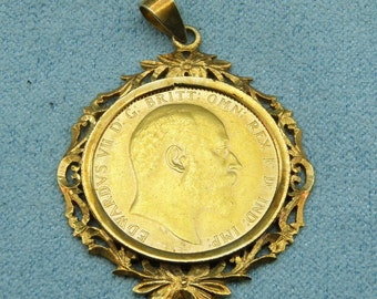1908 EDWARD VII Full Gold Sovereign Coin Pendant - Set in 14K Yellow Gold Bezel, sku P-1199