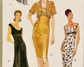 Retro Vogue Pattern 9852 Off-Shoulder Deep Scoop Neck Close Fitting Party Dress PLUS Sz 18-22 Uncut FF Evening Gown w Bolero Sew Patterns