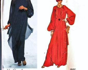 Vintage Vogue Paris Original Pattern 1537 YSL Flowing Evening Gown or Wide Leg Pantsuit Sz 12 Cut Haute Couture Designer Sewing Patterns