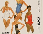 Retro 80's McCall's Pattern 7578 Sexy One Piece Swimsuit in 4 Views Sz 6-10 Uncut FF Vintage Strectch Knit Only Bathing Suit Sewing Patterns