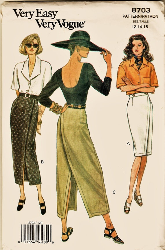 Vintage Very Easy Vogue Pattern 8703 Skinny Front or Back Wrap Skirt ...