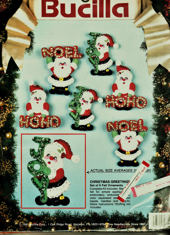 Vintage Bucilla Christmas Greetings 6 Pce Felt Christmas