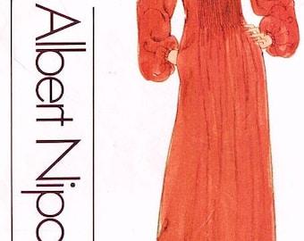 70's Vogue American Designer Pattern 1744 NIPON Career Dress or Maxi Sz 10 Uncut FF Original Couture Fashion Sewing Pattern Sewing Supplies