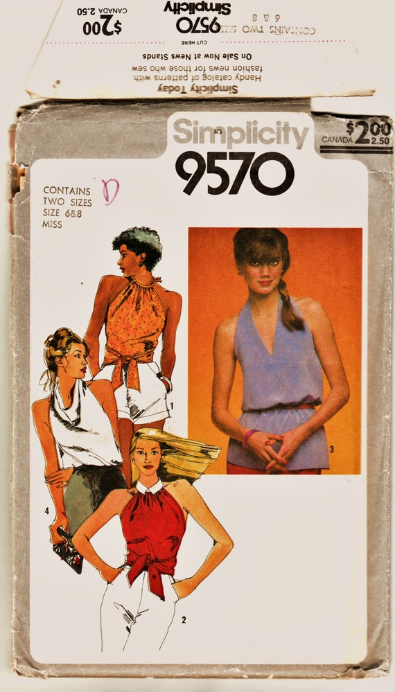 Retro 80\'s Simplicity Pattern 9570 Steamy Summer Tops in 4 | Etsy