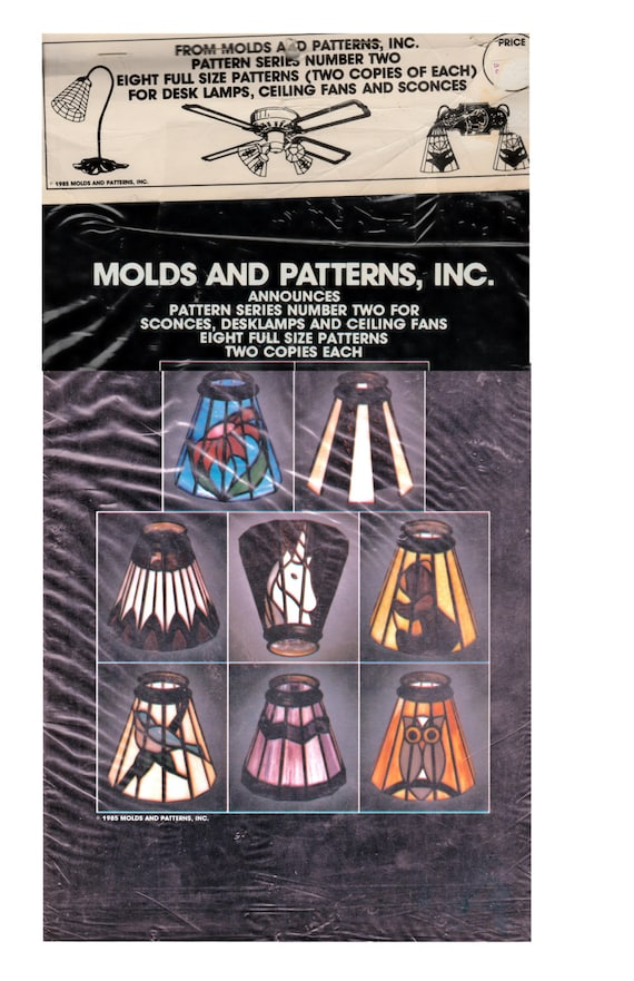 Vintage Stained Glass Lamps Patterns For 8 Deskceiling Fan Etsy