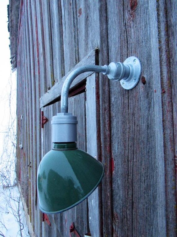 Relektrik Vintage Barn 8 Ivanhoe Angled Green Porcelain Wall Light Gas Station Industrial Farm Authentic Antique