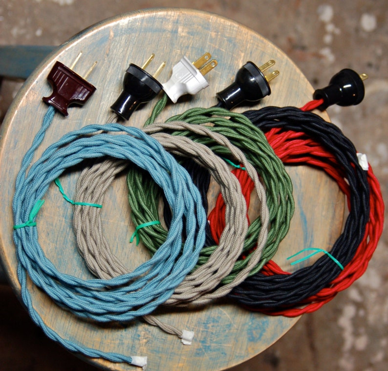 Terrific 8 Foot Cloth Wire W Plug Attached 26 Color Options Twisted Etsy Wiring Digital Resources Operpmognl