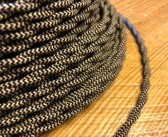 Made in USA Black and Beige 18//2 Twisted Rayon Cloth Covered Electric Lamp Cord