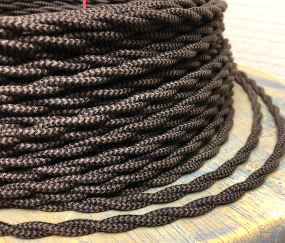 COPPER ~ Antique Look TWISTED Cloth Covered Fabric Lamp Wire ~ Price Per Foot