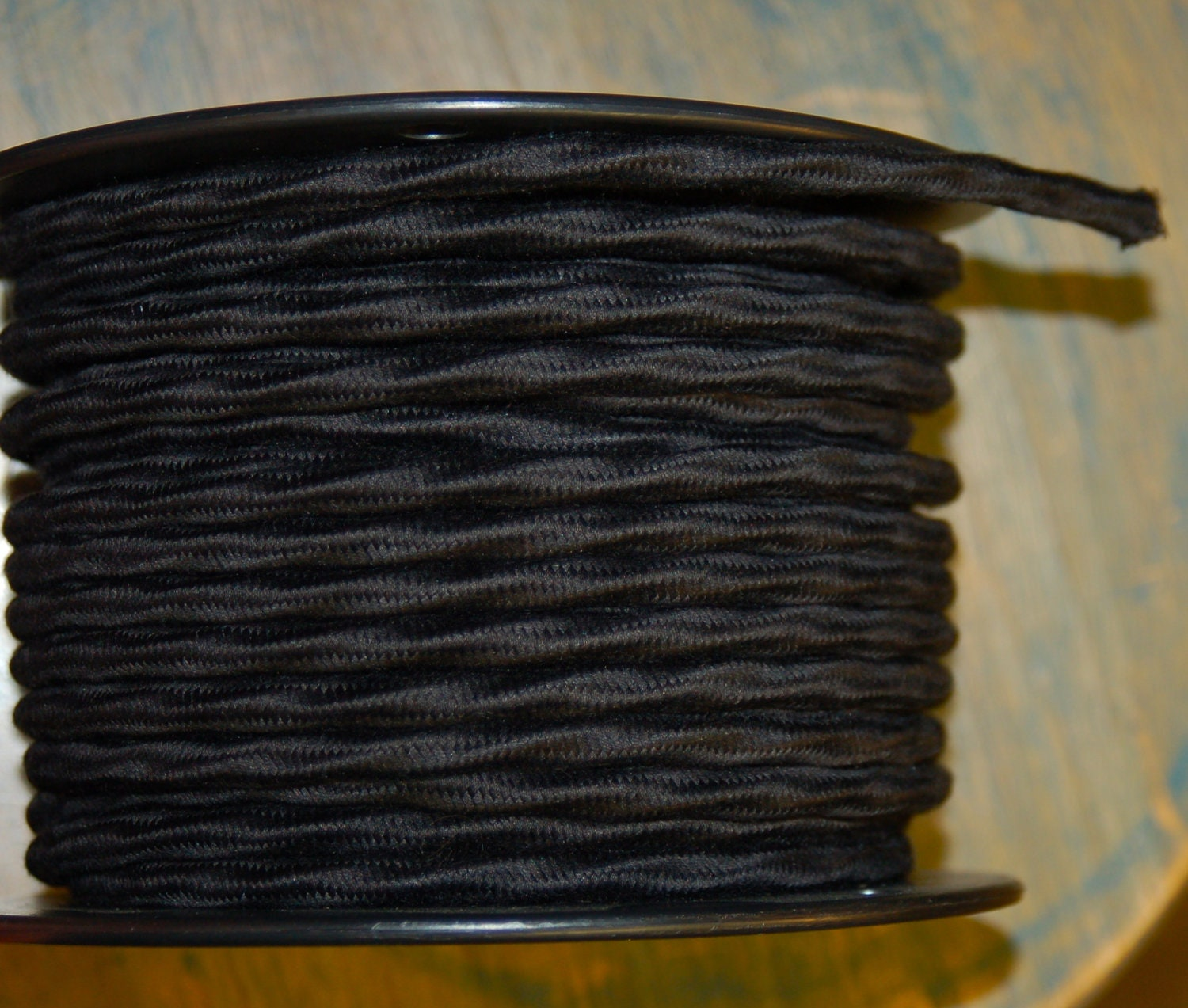 6 Feet: Black Cloth Covered 3-Wire Overbraid Cord Vintage
