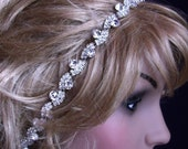 Evening Holiday BRIDAL HAIR BAND Swarovski crystals and ivory ribbon Wedding headpieces