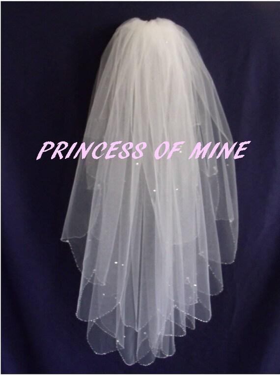 Ivory Elbow Length Beaded Edge Handmade 2 Tiers Bridal Wedding Veil White