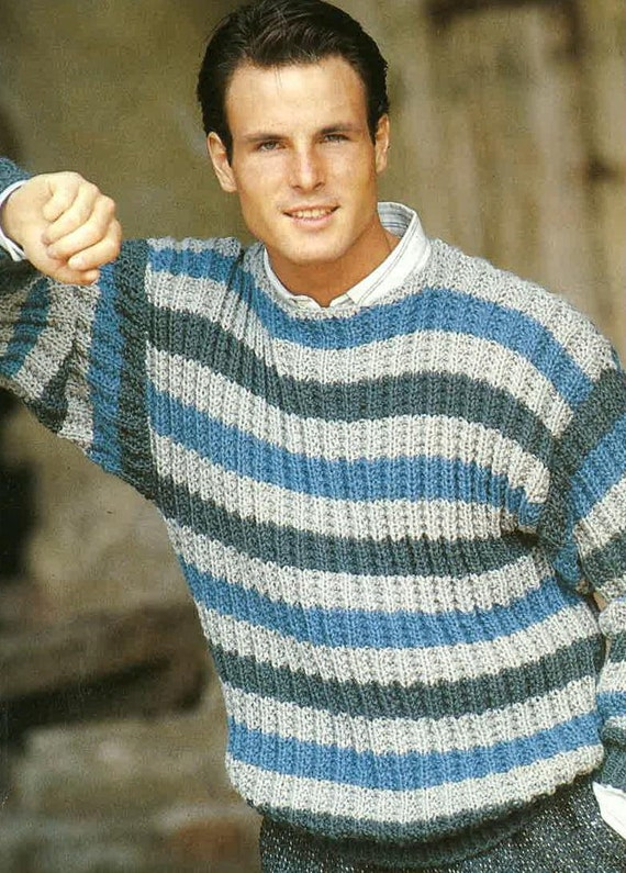 db001f7203a16 Knitting Pattern Mens Jumper Mens Sweater Mens
