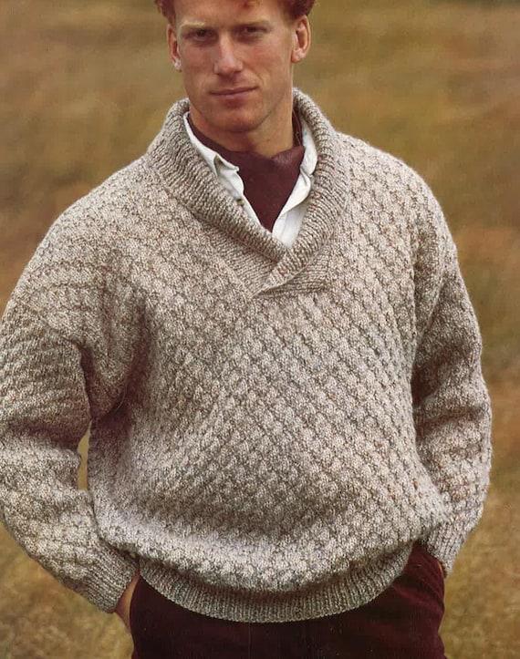 Knitting Pattern Mens Sweater Jumper Size 34in 44in PDF | Etsy