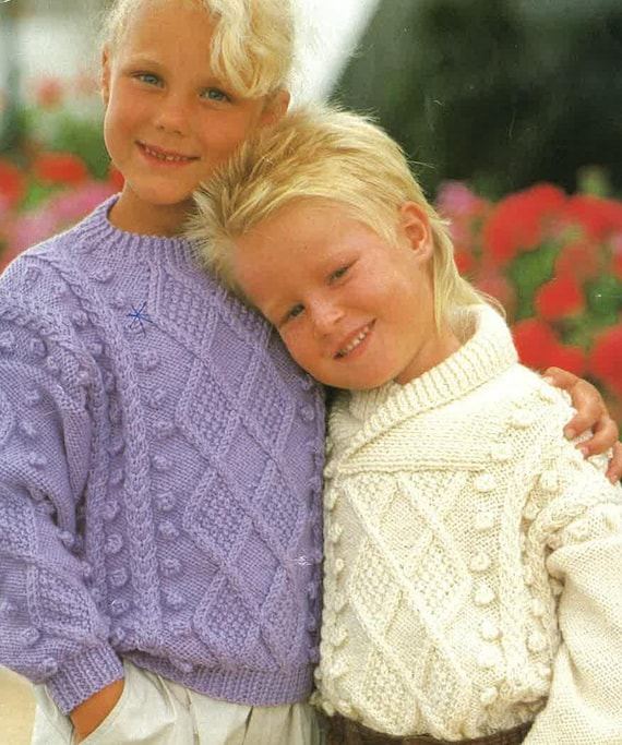 db683a796c2ce Childrens Aran Sweater Pattern PDF No. 0616 From TimelessOne