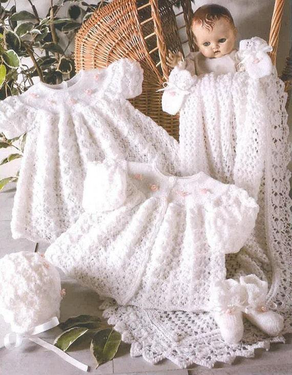 No tejer a patrón Vintage Baby bautizo conjunto vestido | Etsy