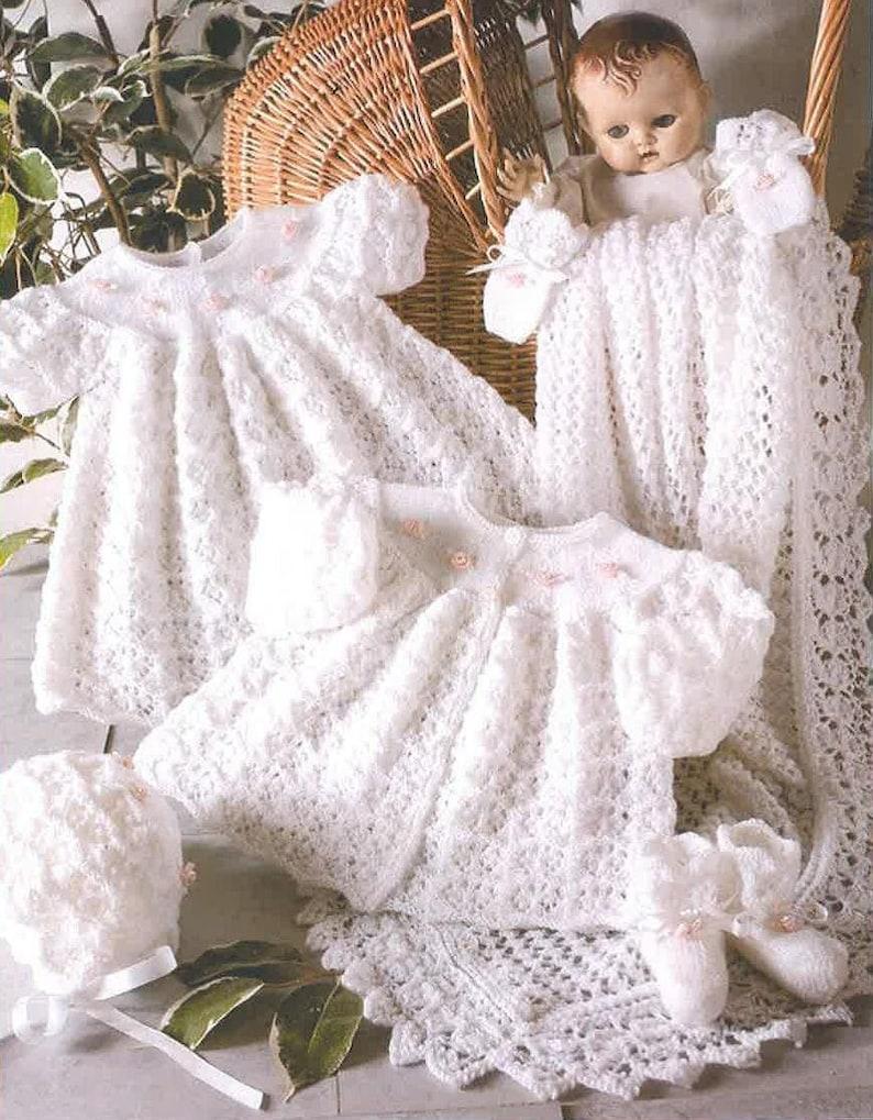 ef65482f66d Ne tricot bébé Vintage motif baptême ensemble robe manteau