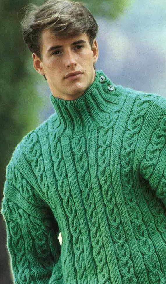 55fd7d6061e5d Knitting Pattern Mens Jumper Sweater Jersey Size 36ins