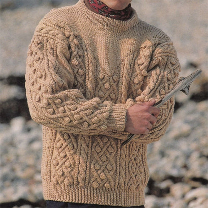 9e3687675597c KNITTING PATTERN Mens Aran Sweater Pdf Pattern